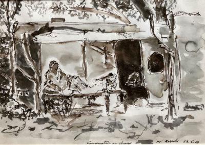 Conversation on a charpoi