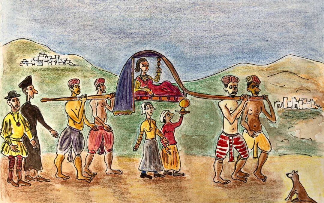 Goa, lady in her palanquin