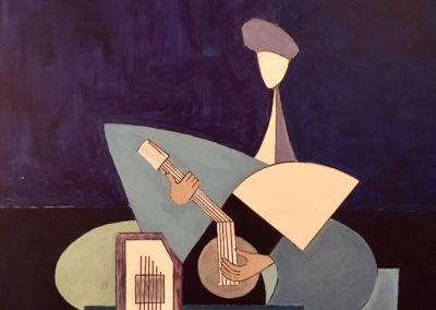 Sitarist cubist blueish